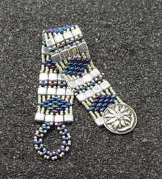 SUPERDUO CZECHMATE TILE Bracelet Silver by CinfulBeadCreations