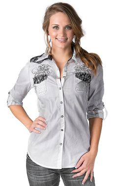 Roar® Women's Maiden II White with Black Lace & Crystals 3/4-Long Sleeve Western Shirt