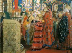 Ryabushkin Andrey (1861-1904) - Russian women of the XVII century in the church. 1899 // Рябушкин - Русские женщины XVII столетия в церкви.