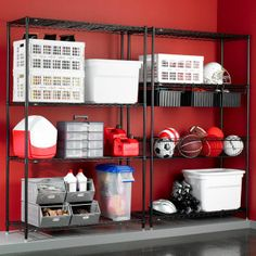 Our InterMetro Special Offer Unit holds up to 300 pounds per shelf and has easy, no tools assembly! Great for seasonal storage in the garage! Metro Shelving, Shop Shelving, Shelving Units, Shelving Solutions, Garage Storage Solutions, Storage Cabinets, Storage Shelves, Shelf, Storage Area