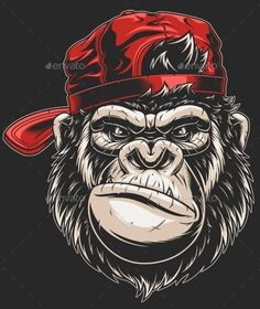 Vector illustration, severe gorilla in a baseball cap, head isolated, on a white background , Dope Cartoon Art, Dope Cartoons, Gorilla Wallpaper, Gorilla Tattoo, Monkey Tattoos, Monkey Art, Graffiti Characters, Cartoon Wallpaper, Skull Art