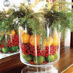 Centerpiece, Christmas. Fill vases or glass containers with berries, fruit, and evergreen branches.  These are wonderful smelling and easy ways to add some festivity to many areas of your home.