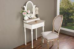 Baxton Studio Anjou Accent Dressing Table w/Mirror