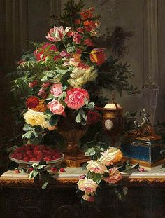 View Still life with roses and wild strawberries by Jean-Baptiste Robie on artnet. Browse upcoming and past auction lots by Jean-Baptiste Robie. Painting Collage, Oil Painting Flowers, Rose Paintings, Floral Paintings, Still Life Flowers, Chinoiserie Wallpaper, Jean Baptiste, Wild Strawberries, Floral Artwork