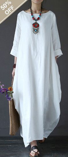 Vintage Women Solid 3/4 Sleeve Loose Robe Dress For Women #fashion #dress