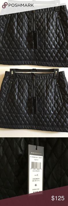 NWT, BCBGMaxazria, Dotty quilted  skirt size S NWT, BCBGMaxazria, Dotty quilted faux leather black skirt, size S. BCBGMaxazria Skirts Mini