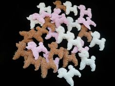 Lot Of Twenty-Eight Cute Poodle Embellishments/Appliques For Crafting and Sewing - Pink, Cream and Light Brown by MossyCottage on Etsy
