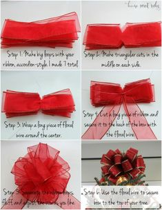 Quick DIY :: Christmas Tree Bow Quick DIY :: Christmas Tree Bow Christmas Tree Bow tutorial<br> diy christmas tree bow, christmas tree bow tutorial, how to make a bow for on your christmas tree Ribbon On Christmas Tree, Christmas Bows, Christmas Tree Toppers, Simple Christmas, Christmas Tree Decorations, How To Make Christmas Tree Bow Topper, Christmas Movies, How To Decorate Christmas Tree, Christmas Lights