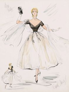 Film costume sketch by Edith Head for Grace Kelly. Rear Window, Alfred Hitchcock.