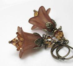 Brown Swarovski Lucite Flower Earrings Antiqued by jewelrybyNaLa, $21.50