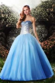Sweetheart Sequin Tulle Ball Gown Prom Dress #blue #wedding #dress www.loveitsomuch.com