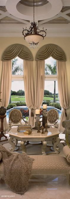 Idea for Window Treatments for Living Room Unique astonishing Window Treatments for Windows In Living Arched Window Treatments, Arched Windows, Small Windows, Rideaux Design, Mediterranean Living Rooms, Interior Decorating, Interior Design, Luxury Interior, Living Room Windows