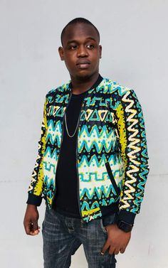Men's Shirts, Collar Shirts, African Men, African Fashion, Chinese Collar Shirt, Ankara Styles For Men, Authentique, Bomber Jackets, African Design