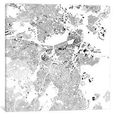"Mercury Row Boston Urban Map Graphic Art on Wrapped Canvas in Gray Size: 12"" H x 12"" W x 1.5"" D"