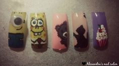 Handpainted nail art - Minion, Spongebob, Teddy bear, Kitty, Cupcake-