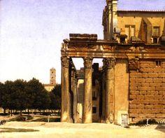 View of the Via Sacra, Rome, Oil On Canvas by Christoffer Wilhelm Eckersberg (1783-1853, Denmark)
