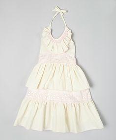 Ivory & Pink Tiered Lace Halter Dress - Infant, Toddler & Girls