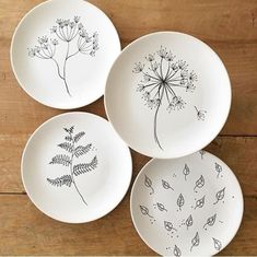 Cost clay pottery simple Strategies Clean and simple ceramic dishes with nature drawings. Good No Cost clay pottery simple Strategies Clean and simple ceramic dishes with nature drawings. Naturescape Bone China Plates - Set of 4 Pottery Painting Designs, Pottery Designs, Paint Designs, Pottery Ideas, Ceramic Plates, Ceramic Pottery, Pottery Art, Painted Pottery, Crackpot Café