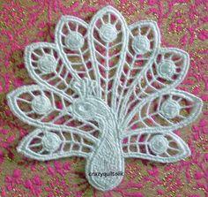 Peacock Motif Appliqué Embellishment, Victorian Lace, via Etsy.