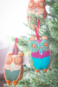 Trim your tree with the cutest ornaments around. :) | Jewel Tone Owl Ornaments - $4.97
