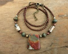Picasso Jasper Necklace simple earthy jasper by ArtifactsEtCetera, $46.00