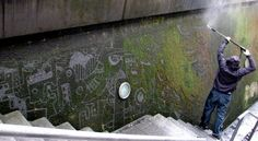 Sefaan de Croock carves moss off rocks with water to make art. Mad? Absolutely! Genius? Of course!