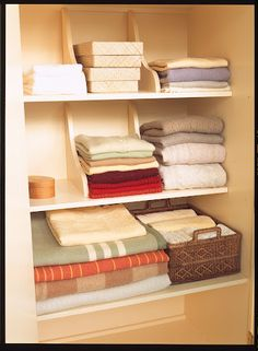 What a great idea!  Shelf brackets mounted to the tops of shelves in clothes or linen closets make perfect dividers for keeping stacks straight.