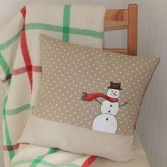 white christmas cushion by designer j | notonthehighstreet.com - same fabrics but with a reindeer!