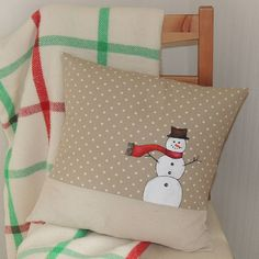 white christmas cushion by designer j | notonthehighstreet.com - same fabrics but with a reindeer!