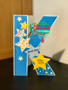 Boys Teenager Male Masculine Handmade Birthday Card Initial Letter K Using Die Cut Stars