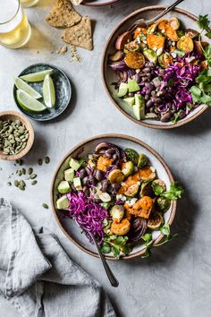 Roasted brussels sprouts, potatoes, sweet potatoes, and cabbage meet earthy braised beans and your favorite burrito in these Mexican Roasted Veggie Bowls. Mexican Food Recipes, Whole Food Recipes, Vegetarian Recipes, Healthy Recipes, Bojon Gourmet, Roasted Sprouts, Vegan Dishes, Granola, Food Inspiration
