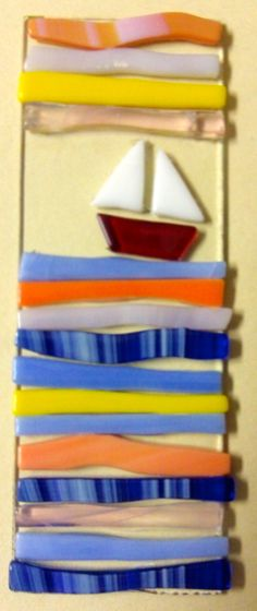 fused glass sailing piece by student in grade 7 or 8