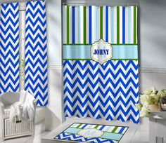 Boys Shower Curtain, Personalized. Great Mix Of Blues And Greens, Very Cool.