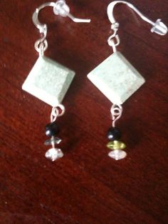 Just reduced. Ruby fuschite, green flourite and onyx earrings on Etsy, $12.00