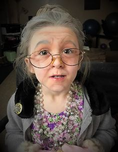 Old lady makeup and costume 100th day of school  c8b52af9b6