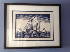 Sailboat-Woodblock-Wall-Art-Print-Vintage-Framed-Pottery-Barn-Williams-Sonoma
