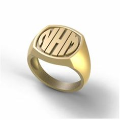 14k gold relief-style monogram initial ring