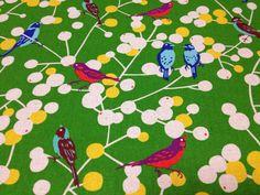 Japanese Cotton Linen Blended Fabric - Kokka, echino, Etsuko Furuya -  2013 Cherry & Bird, Green - NT591