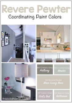 Revere Pewter Coordinating Paint Colors - This Bold Home Revere Pewter, Coordinating Paint Colors, Living Room Paint, Paint Colors For Home, House Interior, Room Colors, Kitchen Paint Colors, House Colors, Kitchen Paint