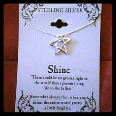 """Engraved Inspirational Necklace, Sterling Silver This beautiful inspirational necklace is engraved """"Shine like a star"""" and is sterling silver which means it will never, ever tarnish and is hypoallergenic!  Card reads: There could be no greater light in the world than a person who lives life to the fullest. Remember always that, when you shine, the entire world grows a little brighter.  Pendant 2x2mm,  chain 18""""  Proceeds go to the mental health cause. Jewelry Necklaces"""