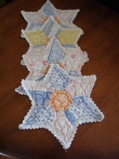 Hey, I found this really awesome Etsy listing at https://www.etsy.com/listing/156477076/vintage-quilted-star-coastersmug-rugs