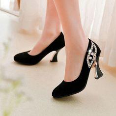 Women's High-heeled fashion Slip-On Asakuchi Heels