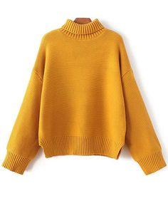 $21.99 Oversized Turtle Neck Sweater - GINGER ONE SIZE