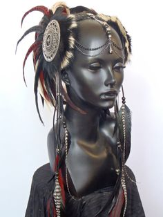CUSTOM ORDER Midsize Warrior Style Headdress by MissGDesignsShop.... I would do anything to get my hands on this one