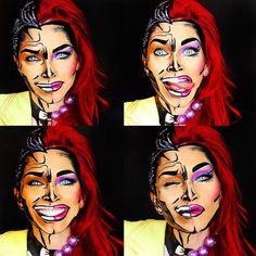 31 Thrilling Transformations Realized with the Power of Makeup - My Modern Met Costume Halloween, Halloween Looks, Halloween Face Makeup, Comic Makeup, Cartoon Makeup, Horror Makeup, Pop Art Makeup, Lip Art, Makeup Ideas