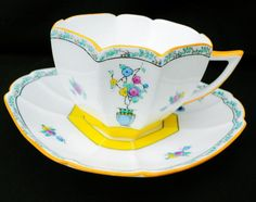 SHELLEY QUEEN ANNE JARDINIERE TEA CUP AND SAUCER