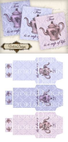 """Tea is a cup of life"" Tea Bag Envelopes: print, cut, fold and glue yourself. You get: ° 3 high quality tea bag envelope images on one x Printable Cup of Life Tea Bag Envelopes High Tea Invitations, Paper Tea Cups, Apple Tea, Boxes And Bows, Diy And Crafts, Paper Crafts, Tea Party Decorations, Bridal Shower Tea, Printed Bags"