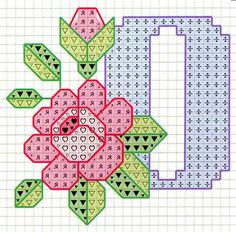 Rose alphabet O Cross Stitch Quotes, Cross Stitch Letters, Just Cross Stitch, Cross Stitch Art, Cross Stitch Flowers, Cross Stitch Designs, Cross Stitching, Embroidery Alphabet, Embroidery Art