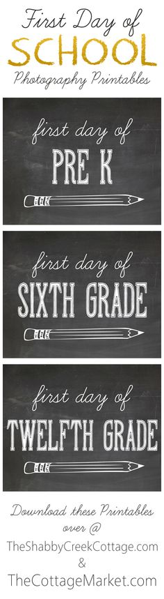 free printables for first day of school photos - all grades included: daycare - 12th grade