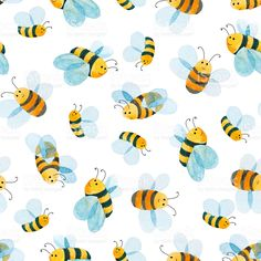 watercolor pattern of smiling bee royalty-free stock vector art